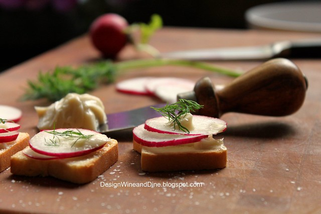 Kitchen Snaps: Radish and Anchovy Butter Tea Sandwich Hors D'Oeuvre
