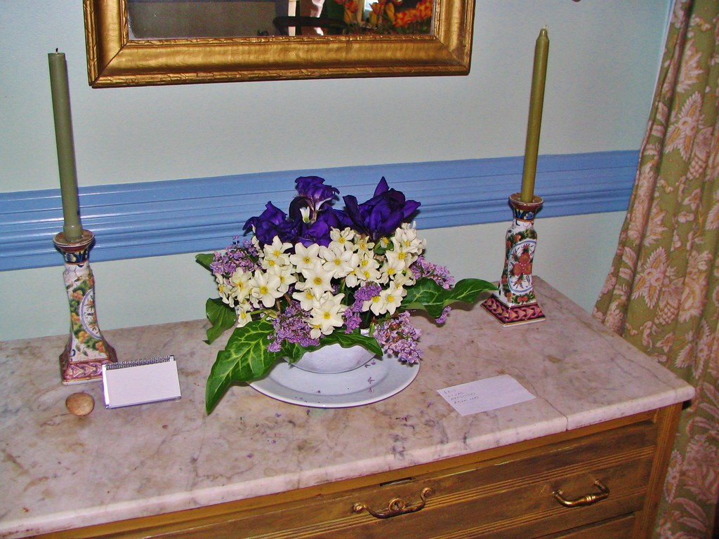 Iris-Lilac-Narcissus floral arrangement at Mahockney by the Mid-Peninsula Garden Club, for Virginia Historic Garden Week tour.