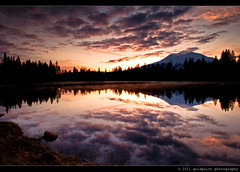 Morning Blush (Goldpaint Photography) Tags: california ca morning trees sky usa lake reflection water clouds forest sunrise landscape mirror weed rocks shasta norcal mountshasta shastina notherncalifornia hammondranch goldpaintphotography lakehammond tiffen6gnd