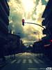 rojo (Carolum Art) Tags: sky sol clouds calle procesocruzado edificios carretera ciudad paisaje via cielo paso nubes reflejo semaforo urbana asfalto horizonte señal cumulonimbus paisajeurbano pasocebra aceras retoquedigital