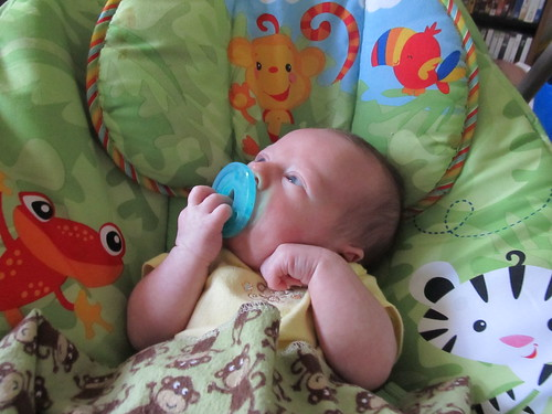 Holding onto his binky