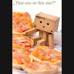 That one or this one? (Oliver Totzke) Tags: 2 food canon toy mark days pizza sp ii 1d 28 365 tamron 70200 f28 70200mm danbo mark2 1dmk2n revoltech danboard