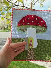 Gnome Home... (ruthiequilts) Tags: door house mushroom 3d gnome handmade paperpieced gnomehome angelquilt miniqtswap