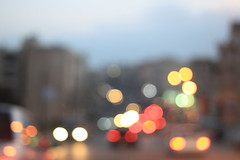 May First. (redaleka) Tags: world street light sky blur reflection cars colors buildings lost haze bokeh universe unsure mayfirst threehundredsixty
