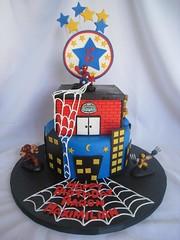 Spiderman Cake (CakesByLaura_WestRouge) Tags: toronto laura cake strawberry web spiderman vanilla fondant buttercream superherosquad cakesbylaura