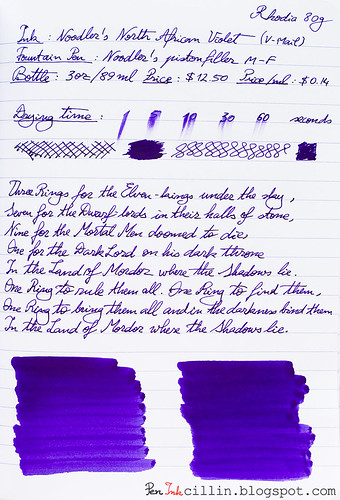 Noodlers North African Violet on Rhodia