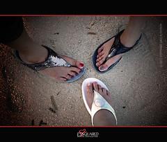 Feet Flopping (essquared) Tags: travel sunset vacation feet beach three sand nikon shoes philippines shangrila nails flipflops cebu slippers stef mactan d90 fitflops essquared stephaniesioson eileensalva
