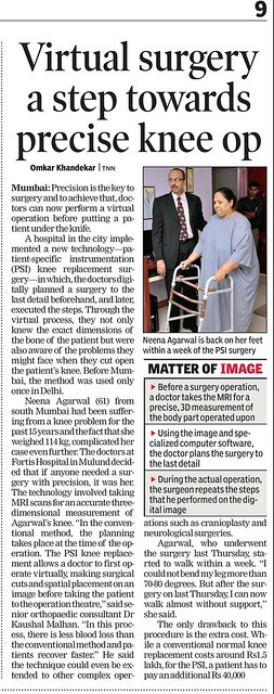 Dr Kaushal malhan, TOI,20th , Fortis Virtual  surgery, May 2011,Pg 9