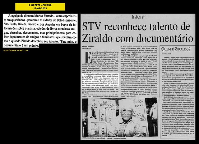 """""""STV reconhece talento de Ziraldo"""" - A Gazeta - 17/08/2003"""
