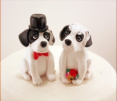 Black and White Dogs (Karly West) Tags: figurines sculpey caketoppers bittersweets customcaketoppers bittersweetz