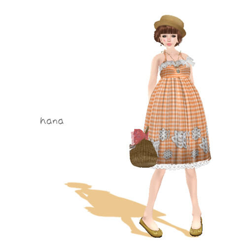 *H+K*_LB_(orange)gingham flower sun dress 1