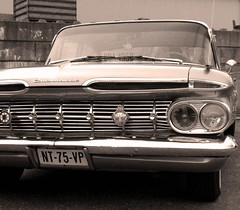 Never drive faster than your guardian angel can fly.  ~Author Unknown (Ameliepie) Tags: holland chevrolet car sepia photoshop classiccar driving quote parking thenetherlands zeeland american processing quotation oldsmobile americanclassic heinkenszand
