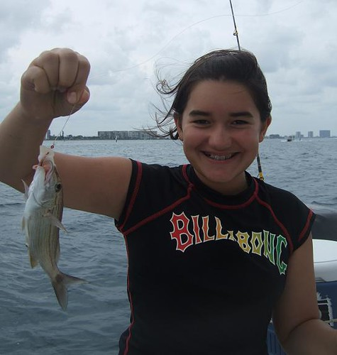 Julia catches fish