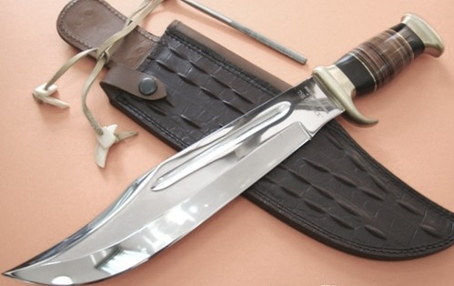 "Down Under Knives The Outback Hunting Bowie Knife 11"" Polish Blade, Leather Handle"