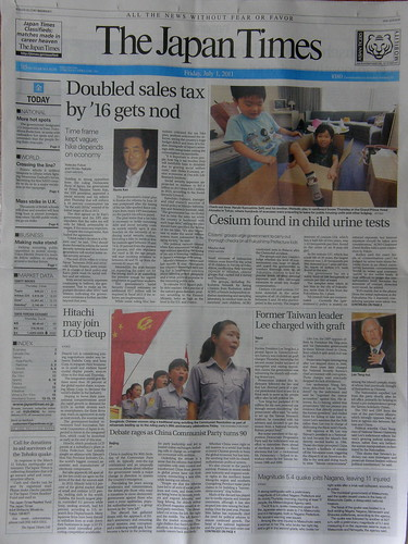 Japan Times front page 2011/07/01 #8390