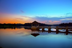 Lower Pierce Reservoir (Kenny Teo (zoompict)) Tags: bridge blue light sunset sky cloud seascape reflection building tourism water beautiful night sunrise canon wonderful lens landscape photo yahoo google scenery photographer waterfront view walk wave tourist best reservoir getty wanted kenny  lowerpiercereservoir colorphotoaward zoompict kennyteo singaporelowerpiercereservoir