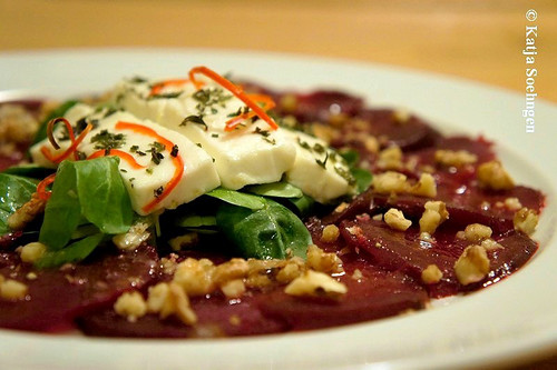 Beetroot Carpaccio with Walnuts and Feta