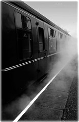 British Railways Mk. 1 TSO Carriage & Smoke : Rawtenstall : East Lancs Rly : Rawtenstall : Monochrome : (norbet1) Tags: uk england people bw monochrome digital photoshop blackwhite nikon zoom north wide sigma railway steam adobe 400 british preservation 400asa nikond1x uksteam alienskinexposure nikonsigma alltypesoftransport sigma1835mmf3545dasphericalautofocuszoom