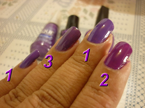 1 - Exotic Jewels Purple(L.A. Colors); 2 - Mambo (Blant); 3 - Topazio Purpura (Risqué)