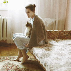 brought back (Masha Sardari) Tags: old selfportrait cold rain cat print square fur spring sad dress maria room days stray shawl masha chisinau moldova sardari