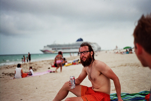 beers on the beach, miami, as cruise ships depart