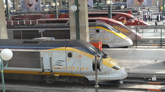Line up of streamliners! (DaveRob67) Tags: paris train eurostar garedunord tgv