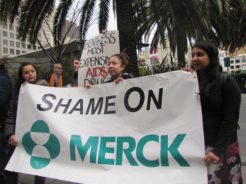 AHF Protests Merck