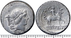 474/1c Denarius L.VALERIVS ACISCVLVS Apollo Soranus axe, jewel on head (not star), Valeria Luperca on heifer, unpublished #1130-38