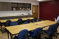A classroom in the Health Sciences Building.