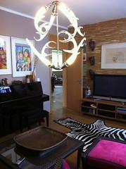 new chandelier in the livingroom (*gele*) Tags: pink light white black home lamp living room chandelier zebra horn showyourhouse icelite