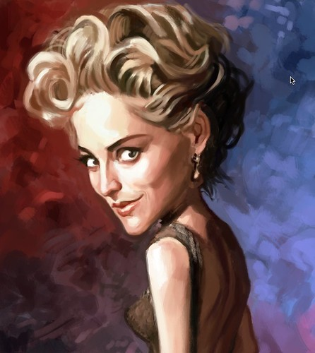 digital caricature of Sharon Stone - 3a