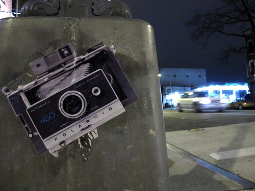 Polaroid Sticker on Lamppost