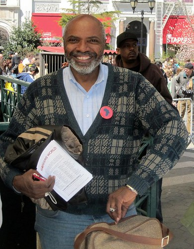 Abayomi Azikiwe, editor of the Pan-African News Wire, in Union Square covering the national anti-war demonstration in New York on April 9, 2011. (Photo: Greg Butterfield) by Pan-African News Wire File Photos