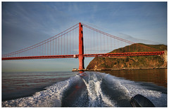 Running Away Across the Bay (LifeLover4) Tags: sf sanfrancisco california ca usa weather clouds sunrise canon bay boat fishing wake goldengatebridge marinheadlands sfbay arima circularpolarizer ggnra ggb limepoint 550d efs1755mmf28isusm t2i parkpic lifelover4 stickneydesign ggb75