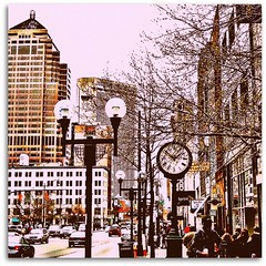 Light Post & Clock (bluecolelucy) Tags: street city light people cars clock buildings walking downtown post busy hussle