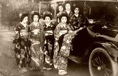 Travelling by Car 1910s (Blue Ruin 1) Tags: japan sepia japanese tokyo vintagecar automobile postcard geiko kimono geta furisode motorcar runningboard kanzashi motorvehicle meijiperiod okobo apprenticegeisha taishoperiod hangyoku