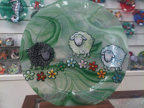 Jan Mitchell's glass sheep platter