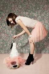 Lulu et la mademoiselle (jjasmiine) Tags: vintage pastel retro frenchbulldog tutu fauxvintage floralpattern pinktutu