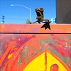 Frog~E Phone Home (Dom Guillochon) Tags: california blue light streetart abstract art colors metal fun rust folkart shadows phone unitedstates sandiego couleurs rusty bluesky frog urbanart poles colori grenouille hillcrest ombres paintedutilitybox vanagram frog~e rustyfrog grenouillerouillée frog~ephonehome