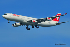 SRM570415118327 (photoman576097) Tags: california ca airplane flying sfo aircraft jet landing airbus arrival approach airlines heavy airliner jetplane a340 lx jetliner swissair swr ksfo sanfranciscointernational a340300 a340313x aircarrier hbjml sn263