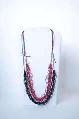 red & black cotton cord necklace (miyukim26) Tags: copyright cord necklace handmade cotton etsy knitted satin knotted madeit bluecaravan madeinmelbourne miyukimardon northmelbournemarket moncdesign northcotemarket