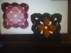 Multi-colored quatrefoil square in K hook. Crisp image is the professional example dark image is mine. by c_death_98