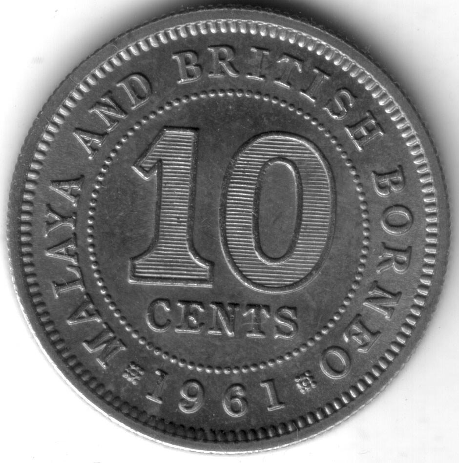 Malaya and British Borneo 1961 10 Cents (KM#2)