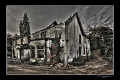 Burnt Out (nigelnaturist) Tags: uk flowers blue windows roof plants white west green home broken nature stone canon drive boards empty yorkshire bricks ruin burnt 1785 efs beams hdr dilapidated pontefract rafters 17mm nhb mygearandme nhbphotography 17mm272on35mm