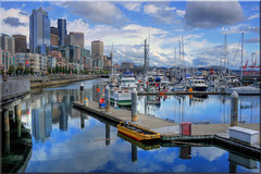Seattle Blues (Jill Clardy) Tags: seattle cruise glass alaska skyline docks harbor washington highway day cloudy steel piers cranes 100views wa inside sailboats passage hdr cloudscape highrises alaskan 1812 1813 1811 photomatix tonemapped ©2009jillclardy
