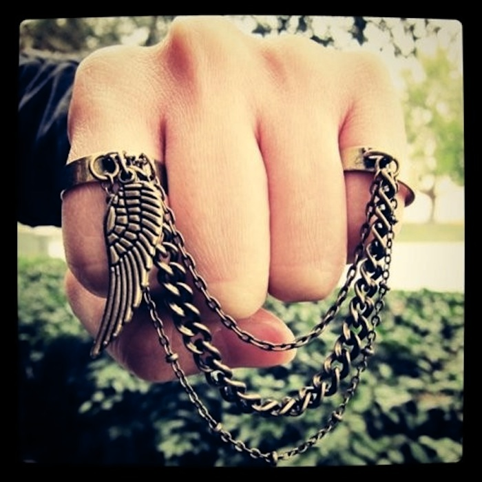 Guardian Angel double finger chain ring by Karing Is Shering
