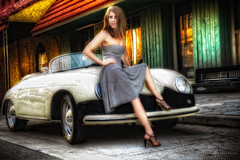 Porsche and Stephanie in Ybor (aboutrc) Tags: woman car sitting porsche ybor hdr