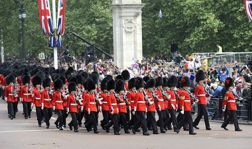 The Queen's Guard walk down the Mall