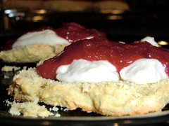 vegan gluten free Simple Scones, with vegan Clotted Cream and Strawberry Jam