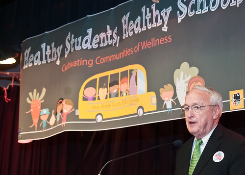 Dr. Kevin Concannon, Undersecretary, Food Consumer and Nutrition Services explains the importance of good nutrition and exercise to students at Maryland City Elementary School in Laurel, MD, during a United States Department of Agriculture, Food Safety Inspection Service, Food Safety Education Camp  on Thursday, May 5, 2011.  USDA Photo by Bob Nichols.